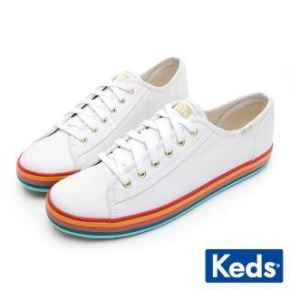【Keds】KICKSTART 繽紛彩虹綁帶帆布鞋(白)