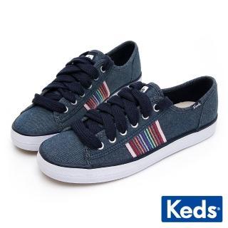【Keds】Keds KICKSTART 彩虹條紋織帶綁帶休閒鞋(黑色)