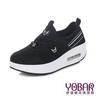 【YOBAR】舒適網布拼接彈力萊卡抽繩束帶休閒美腿搖搖鞋(黑)