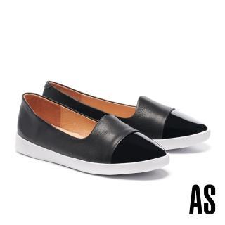 【AS 集團】簡約率性異材質拼接全真皮厚底休閒鞋(黑)