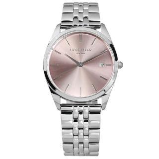 【ROSEFIELD】簡約典雅 日本機芯 日期 不鏽鋼手錶 粉x銀 33mm(ACPG-A05)