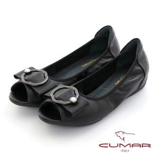 【CUMAR】優雅復古珍珠飾釦魚口內增高平底鞋(黑色)