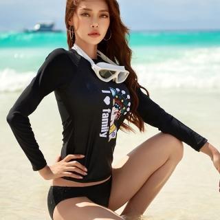 【Biki 比基尼妮】M-XL臉譜長袖泳衣二件式泳裝-二件式(長袖泳衣+三角褲)