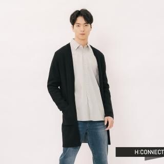【H:CONNECT】韓國品牌 男裝 -素面開襟微長版針織外套(黑色)