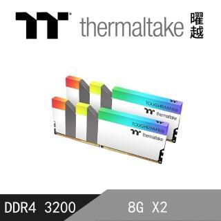 【Thermaltake 曜越】TOUGHRAM RGB 記憶體 DDR4 3200MHz  16G 白色(R022D408GX2-3200C16A)