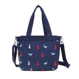 【VIVI SECRET】淘氣小貓繡線輕量防潑水多隔層肩背斜背二用包(藍色)