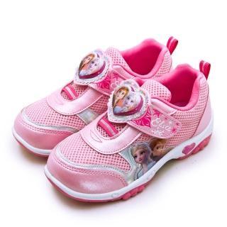 【Disney 迪士尼】中童 17cm-21cm 冰雪奇緣 FROZEN 兒童電燈慢跑鞋(粉紅桃 94903)