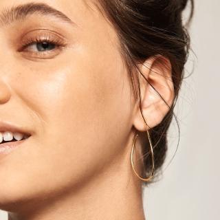 【PD PAOLA】西班牙時尚潮牌 水滴圓形耳環 簡約金色耳環 925純銀鑲18K金 NIKO(925純銀鑲18K金)