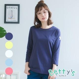 【betty's 貝蒂思】領口蔞空拼接星星七分袖上衣(共5色)