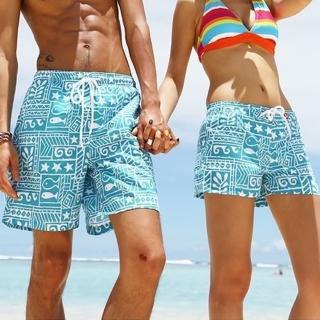 【米蘭精品】沙灘褲情侶款(藍色小魚圖案男女短褲66z35)