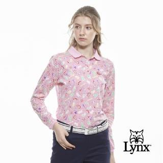 【Lynx Golf】女款純棉雙絲光繽紛彩妝品印花長袖POLO衫(粉色)