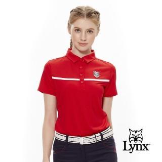 【Lynx Golf】女款抗UV透氣布料剪接盾型Logo短袖POLO衫(紅色)