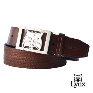 【Lynx Golf】男款精緻大山貓金屬帶頭牛皮皮帶(咖啡色)