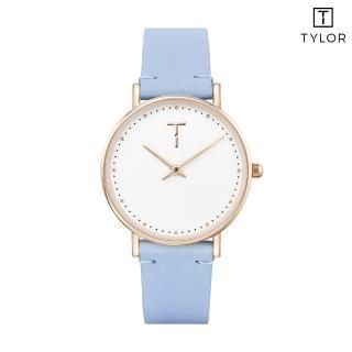 【TYLOR】白面玫瑰金框粉藍色皮帶錶(TLAF004)