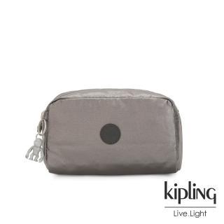 【KIPLING】低調質感金屬灰褐色長形化妝包-GLEAM
