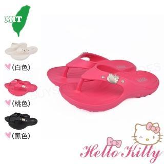 【HELLO KITTY】17-25cm童鞋親子鞋 防水輕量柔軟減壓吸震夾腳拖鞋(白&桃&黑色)