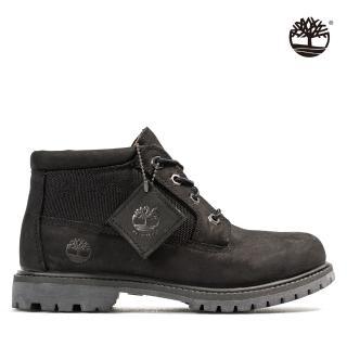 【Timberland】女款黑色磨砂革休閒中筒靴(A2FD1001)