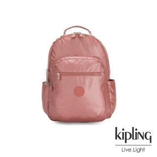 【KIPLING】甜美俏皮蜜桃粉機能手提後背包-SEOUL