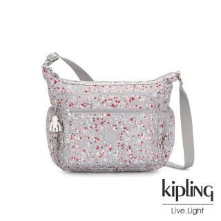 【KIPLING】繽紛水磨石圖樣多袋實用側背包-GABBIE