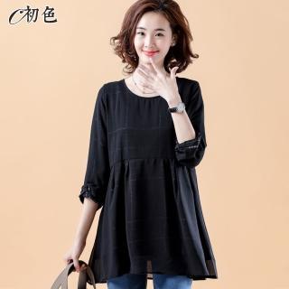 【初色】線條印花圓領雪紡衫-黑色-95018(M-2XL可選)