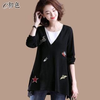 【初色】V領刺繡布上衣-黑色-95017(M-2XL可選)