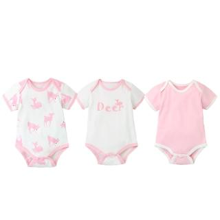【Baby 童衣】嬰兒童短袖三角哈衣爬爬服連體衣三件套 61151(共6色)