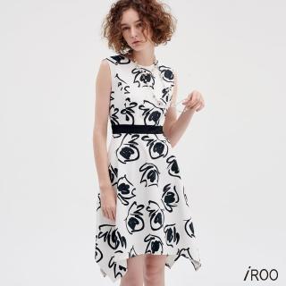 【iROO】白底印花下襬不規則洋裝