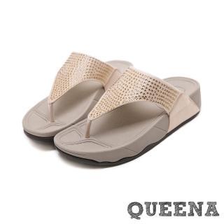 【QUEENA】閃耀燙鑽時尚人字夾腳舒適厚底拖鞋(米)