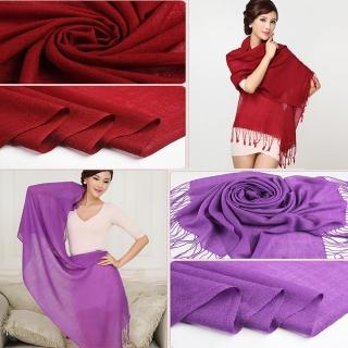 【ZANA】100%純羊毛80支流蘇圍巾(13款任選)