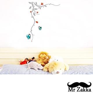 【Mr.Zakka】時尚居家創意風格DIY可移式壁貼(蝴蝶花藤)