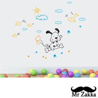 【Mr.Zakka】時尚居家創意風格DIY可移式壁貼(小狗愛旅行)