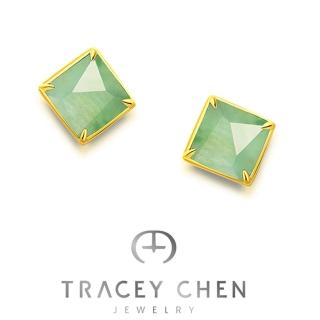 【TRACEY CHEN 檀僖】天然翡翠綠色中方耳釘(翡翠耳釘)