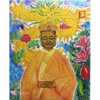 【豐財藝術】Namo Dipamkar燃燈佛定光如來能量真跡油畫(佛像油畫藝術家真跡藝術收藏首選)