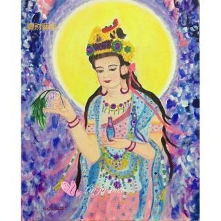 【豐財藝術】Namo Avalokiteshvara 彩衣觀世音菩薩能量真跡油畫(佛像油畫藝術收藏首選)