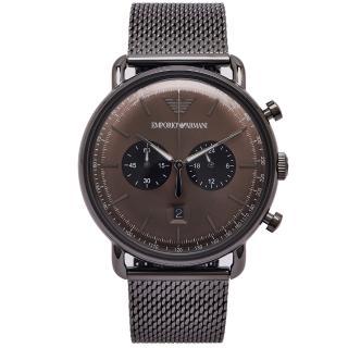 【EMPORIO ARMANI】圓弧立體感雙眼計時功能米蘭錶帶手錶-咖啡色面/42mm(AR11141)