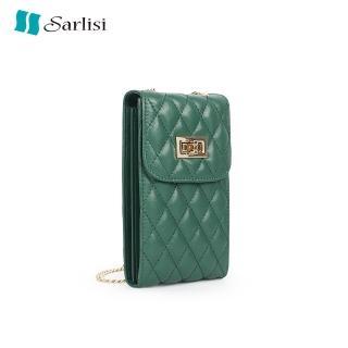 【Sarlisi】新款手機包女斜背包真皮迷你零錢小包豎款百搭菱格羊皮手機袋