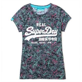 【Superdry】極度乾燥 女 XS號 圓領短袖T-shirt 復古多次染色標誌T恤(XS號 S號 類迷彩綠色)