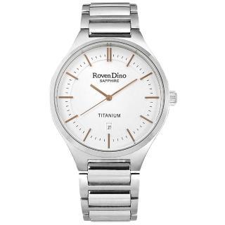 【Roven Dino 羅梵迪諾】簡約時尚 藍寶石水晶玻璃 日期 鈦金屬手錶 白色 43mm(RD781TI白)
