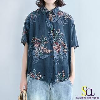 【SCL 南加州丹寧】藍花繪影寬鬆五分袖襯衫