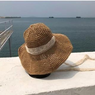 【SeasonsBikini】草帽遮陽帽蕾絲可折疊 -261(草帽遮陽帽蕾絲可折疊)