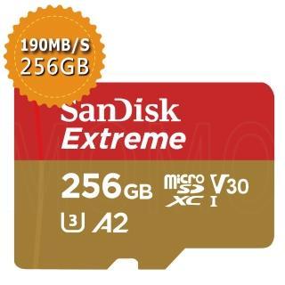【SanDisk 晟碟】Extreme microSDXC V30 A2 256GB 160MB/s記憶卡(平行輸入)