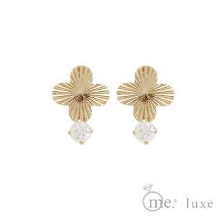 【me.luxe】K10黃K鋯石4芒花耳環(日本輕珠寶網路銷售NO.1)