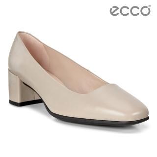 【ecco】SHAPE 35 SQUARED 時裝粗跟方頭高跟鞋 女鞋(灰粉色 29050301386)