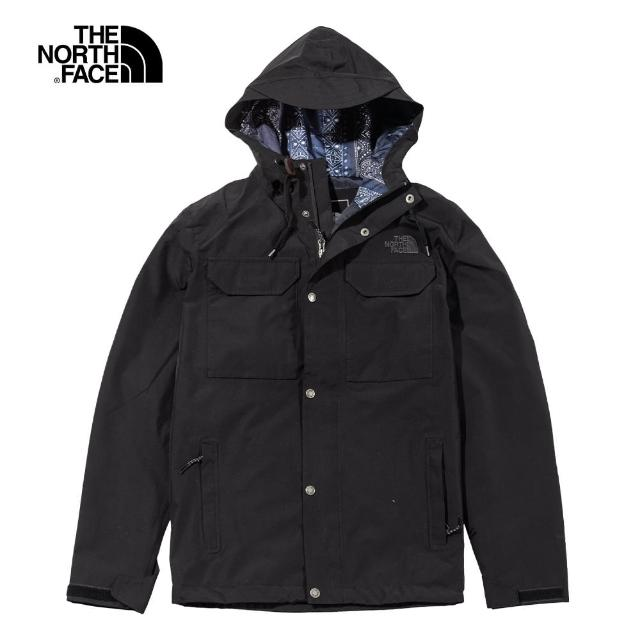 【The North Face】The North Face北面男款黑色防水排濕耐磨衝鋒衣|497FJK3