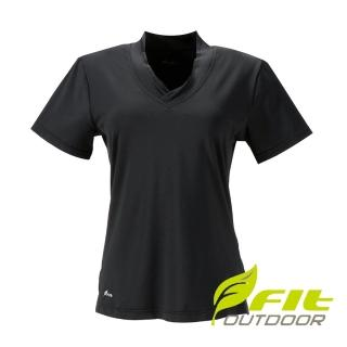 【Fit 維特】女吸濕排汗V領衫-經典黑 CS2107-79(V領衫/吸濕排汗/休閒上衣)
