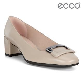 【ecco】SHAPE 35 SQUARED 復古時尚方頭高跟鞋 女鞋(灰粉色 29053301386)