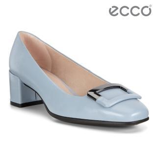 【ecco】SHAPE 35 SQUARED 復古時尚方頭高跟鞋 女鞋(藍色 29053301434)