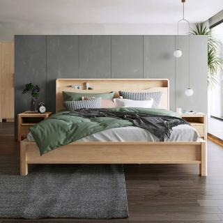 【hoi! 好好生活】林氏木業北歐現代簡約床頭置物雙人5尺 150x200cm 床架組HS3A-原木色