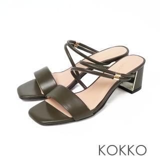 【KOKKO 集團】優雅不對稱方頭真皮粗跟涼鞋(抹茶綠)