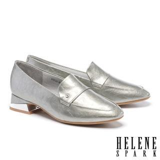 【HELENE SPARK】復古時髦金屬感白鑽樂福低跟鞋(銀)